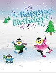 Ice Skating Birthday Postcard